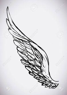 Angel design over white background, vector illustration, Illusztr谩ci贸 , Wing Tattoo Arm, Feather Tattoo Arm, Eagle Wing Tattoos, Wings Sketch, Wings Drawing, Clock Tattoo Design, Wing Tattoo Designs, Archangel Tattoo, Angel Wings Art