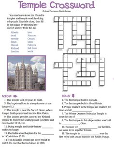 LDS Games - Crossword Puzzles - The Temple