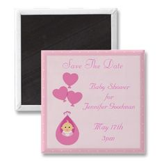 Cute baby carried by heart shape balloons pink customizable Baby Shower Save the Date magnets