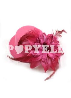 #coiffure #lolita Plume velours fuchsia Décoré Chapeau femme