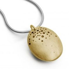 This 9ct gold pod pendant features a contrasting silver chain and an organic pattern that clusters at the top of the pod and gradually disperses towards the bottom. The satin finish presents a modern, elegant look to the design and the hollow centre creates the illusion of wearing a small treasure from nature.