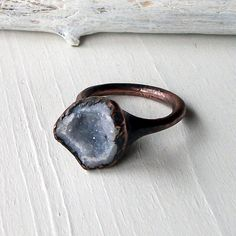 Ring Druzy Copper Geode Agate Gem Stone Frost by MidwestAlchemy, $67.50