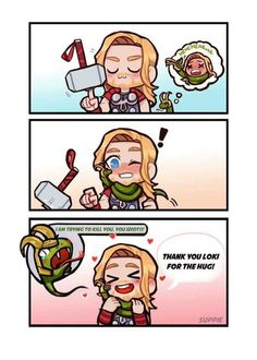 I love how the snake Loki has his antler helmet on it looks so cute! this is probably the only way Thor can get Loki too hug him )-; Avengers Humor, Avengers Comics, Funny Marvel Memes, Marvel Jokes, The Avengers, Dc Memes, Funny Comics, Thor Meme, Loki Thor