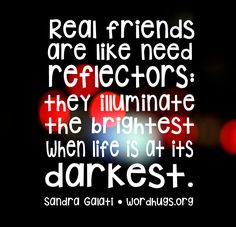 Real friends are like need reflectors: they illuminate the brightest when life is at its darkest. - Sandra Galati :: wordhugs.org
