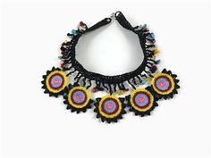 Hand Crochet, delicate lacy colorful motifs beaded choker necklace .   Are you looking for a unique and eye catching necklace ?   This is the one for you ...Eye catching statement crochet necklace with stone beads   Ready to ship .   Makes great gift for mom, girl friend, sister , teachers..   I ship from Turkey with tracking number .