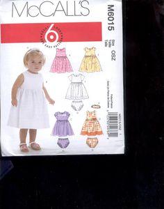 McCalls Pattern M6015-  Infants Dresses, panties, , - size 0SZ