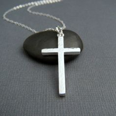 silver cross necklace. LARGE. hammered cross pendant. sterling silver. simple. minimalist necklace. christian jewelry. 1 1/4 inch