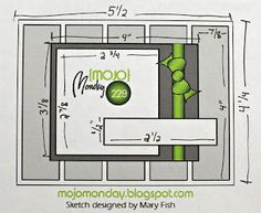 Card sketch Mojo Monday 229 with measurements Scrapbook Patterns, Scrapbook Sketches, Card Sketches, Scrapbook Cards, Stamping Tools, Bullet Journal, Scrapbooking, Echo Park, Card Patterns