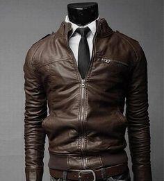 Mens Slim Faux Leather Zip-Up Jacket