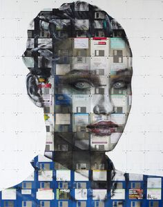 Index 2011 by Nick Gentry. Mixed paint and used computer disks on wood.