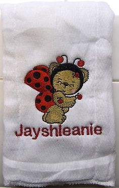 Nascar embroidered burp cloth Personalized Pink