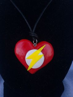 The flash superhero heart sculpey polymer by nothingbutamother, $17.99