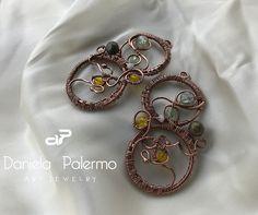 #earrings #copper #wire #wirewrapping #danielartjewelry #citrine #swarovsky
