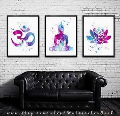 Yoga SET Watercolor art Print in blue and purple, Buddha watercolor, Buddha art, Om Symbol Yoga art, Buy 2 Get 1 FREE!!! Special offer, Buy two Get one FREE! Special offer! Buy two print and get one…MoreMore #YogaSet