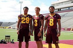 Jarret Chapman (left) junior cornerback, Mark Chapman (center) freshman wide receiver and Winslow Chapman (right), freshman defensive back at Central Michigan University, Aug. 13, 2013. Jarret and Mark are brothers, while Winslow is their cousin. All three played at Port Huron High School. (Morning Sun photo by Jake Crawford)