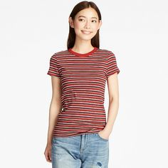 UNIQLO WOMEN STRIPED RIBBED CREW NECK SHORT SLEEVE T 600