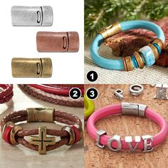 With our popular collection of flat and round leather supplies, choosing a clasp can further personalize your stunning bracelet accessory. Here are some of our favorite leather clasps to inspire … Leather Bracelets, Leather Jewelry, Leather Cord, Jewelry Bracelets, Leather Projects, Jewelry Making, Crafty, Boho, Diy