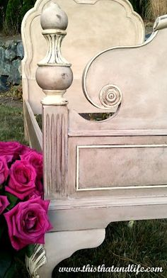 "Created with a mixture of Annie Sloan Chalk Paint in ""Antionette"" and ""Coco"" and then accented with ""Old White"". Finished with a coat of Clear and then Dark wax.  <3"