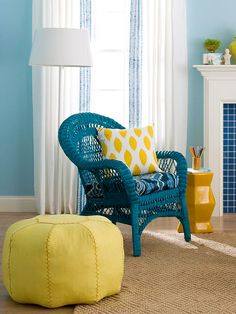 Spray painted wicker chair in darker shade than room decor, with contrasting cushion