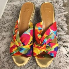 "NWOT❤️Bright Multicolored/Gold Espadrille Wedge The ""KRISTA"" from the Etienne Aigner collection! Vivid multicolored fabric adds a pop to every outfit in a cute cross-cross fit at front of foot. Gold mirrored front on top of a 1"" platform. 3"" espadrille heel lined in rope with a tan trim. Easy to walk in and comfortable. Like-new condition!!!! Etienne Aigner Shoes"