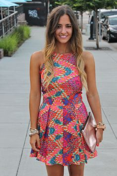 Bedazzles After Dark: Outfit Post: Date Night Neon Skater Dress