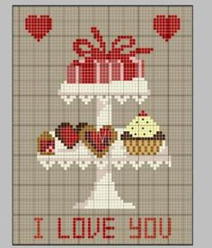 Cross stitch patterns for Valentine's Day: I Love You