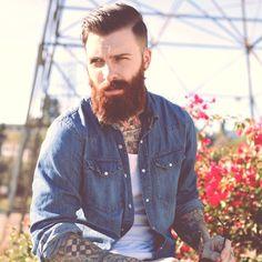 full thick red beard and mustache auburn beards bearded man men mens' style denim tattoos tattooed ink nice hair undercut handsome ginger redhead #beardsforever