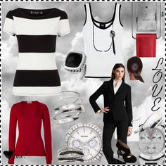 What's black and white and red all over? by authenticbeauty on Polyvore featuring polyvore, fashion, style, D&G, Closed, Helmut Lang, Principles by Ben de Lisi, Elie Tahari, MICHAEL Michael Kors and Effy Collection