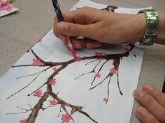 """My Grade 7 class recently finished these cherry blossom paintings as part of our """"Japanese Art"""" unit. I absolutely adore cherry blo..."""