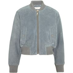 See by Chloé Suede bomber jacket (672 AUD) ❤ liked on Polyvore featuring outerwear, jackets, bomber, chloe, coats & jackets, sky blue, see by chloe jacket, flight jacket, suede jacket and zipper jacket