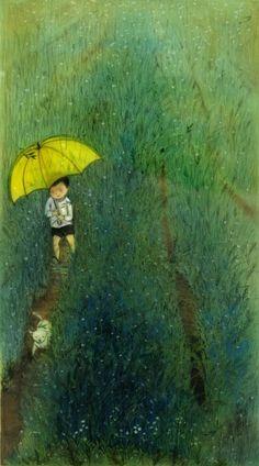 Hee Jeong Kim • Umbrella art • boy walking through a field holding an umbrella following a dog.