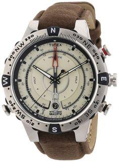 Timex Expedition T2N721 - Reloj de caballero de cuarzo, correa de piel color marrón (con brújula y luz)