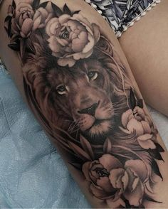 Als Melhores Tattoos de Pet - diy tattoo images - Tatouage Cute Tattoos, Leg Tattoos, Body Art Tattoos, Small Tattoos, Lion Thigh Tattoo, Leo Lion Tattoos, Lion Woman Tattoo, Mandala Lion Tattoo, Animal Thigh Tattoo
