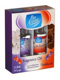 £0.99 - Pan Aroma Fragrance Oil White Musk And Sandalwood 2 Pack Use in oil burner and refresh Pot Pourri.