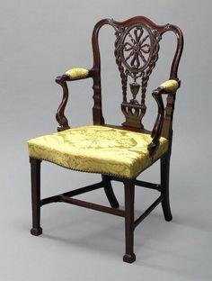 A Rare George III Carved Mahogany Armchair