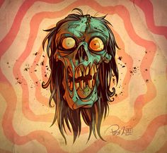 The Walking Dead American artist Brett Parson has created a series of illustrations, depicting comic book characters drawn in pulp art style. Art And Illustration, Zombie Illustration, Character Illustration, Art Illustrations, Zombie Kunst, Arte Zombie, Zombie Art, Dead Zombie, Arte Horror