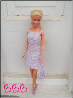 Crochet Barbie Clothes Lavender Spaghetti by BarbieBoutiqueBasics