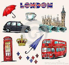 Diseño con símbolos de Londres.