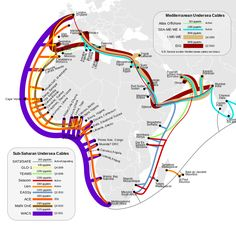 South African / African Internet undersea cable connectivity map.