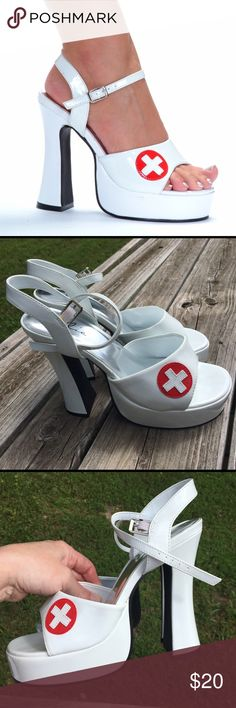 SEXY NURSE COSTUME PLATFORM CHUNKY HEELS HALLOWEEN Size 9 chunky platform heels for a sexy nurse costume. Excellent - like new condition. No box. Sexy strappy open toe women's sandals with 5.5 inch chunky high heels and 1.5 inch platforms in white patent faux leather (man-made).  Vamp adorned with red cross badge. Cushioned insoles and adjustable ankle strap. ellie Shoes Platforms