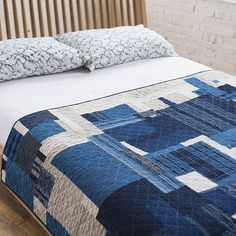 Vintage Indigo Boro Patch Diamond Quilt/ Natural Linen