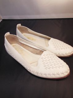 Vintage 80s White Leather Woven Flats Loafers by shesfreakystyley, $18.00