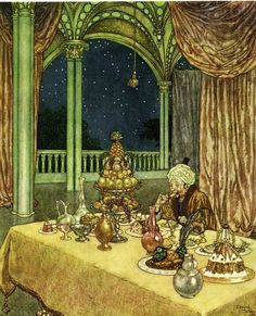 Image result for The poetical works of Edgar Allan Poe illustrations by Edmund Dulac