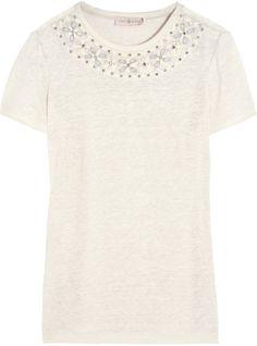 Tory Burch Savannah embellished linen-jersey T-shirt Designer Clothes Sale, Discount Designer Clothes, White Denim, Savannah Chat, Fashion Online, Tory Burch, Kids Fashion, Style Inspiration, Mens Tops