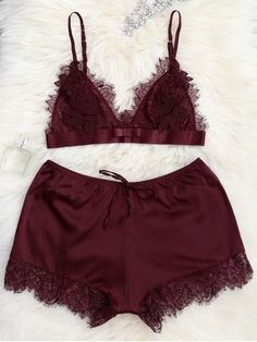 $18 Sheer Lace Bra with Pajama Shorts - WINE RED M