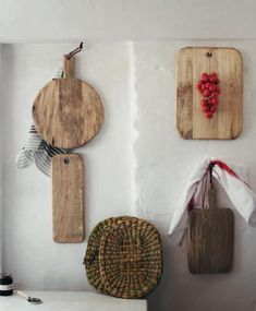 Chopping boards by Toast UK pinned to the wall - great display idea via Remodelista