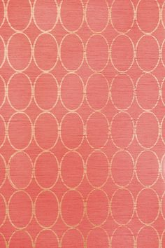 Sonoma Wallpaper Bright Pink wallpaper with geometric oval design in metallic gold.