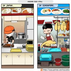 Chicken Rice Stall in Japan VS Singapore! I prefer the chicken rice in Singapore tho smile emoticon  Support me at Patreon: https://www.patreon.com/evacomics
