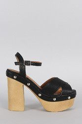 Qupid Studded Criss Cross Ankle Strap Chunky Platform Heel