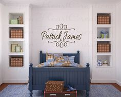 Personalized Name Vinyl Wall Decal with Swirl Accents - Baby Nursery Monogram Wall Decor 22h x 36w FN0200